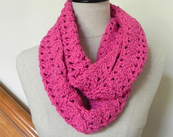 Crochet infinity scarf, Fuchsia pink crochet cowl scarf, crochet knit circle scarf #492, ready to ship