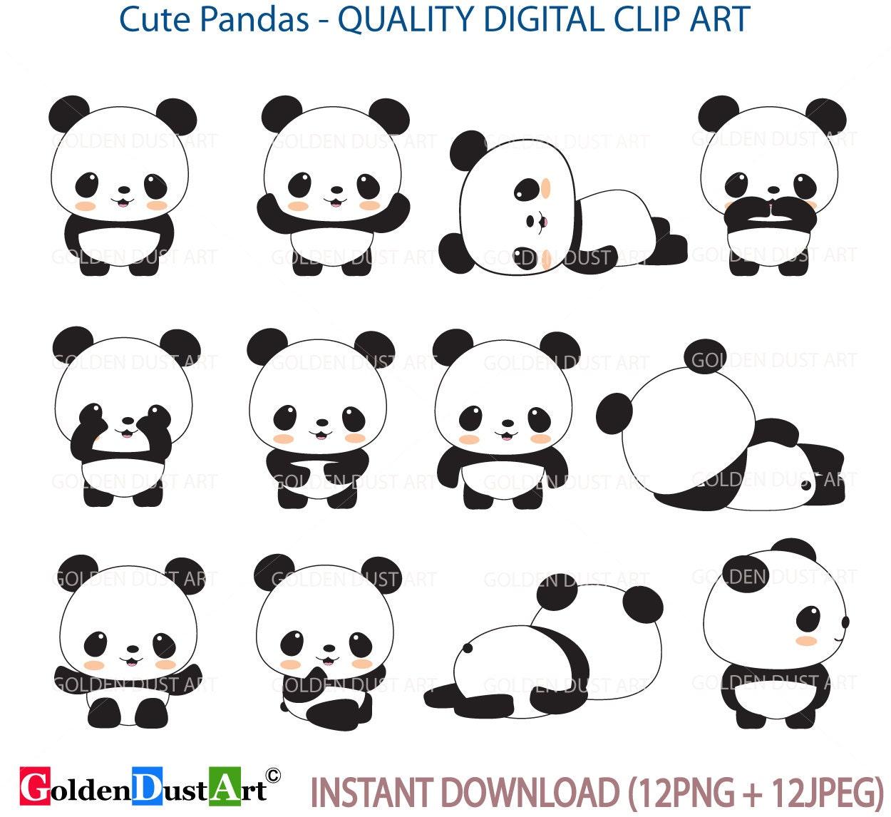 panda clip art panda clip art panda clipart cute panda rh etsy com Cute Cartoon Panda Bears Cute Baby Panda Clip Art