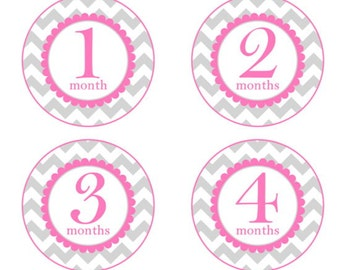 Baby Month to Month Stickers, Monthly Birthday Stickers for Baby, Chevron Photo Prop Birthday Stickers, Chevron and Hot Pink