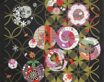 Japanese fabric Furoshiki 'Seven Treasures and the Seasons' Black Cotton w/Free Insured Shipping