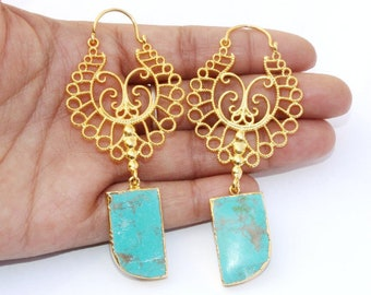 "3.22"" 24kt Gold Electroplated Copper Turquoise Tooth Earrings With Designer Gold Filigree Hoops / Ethnic Gemstone Earrings / OOAK GE33"