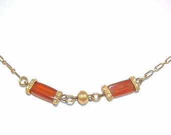 1970s Hipster Amber and Gold Link Chain Choker