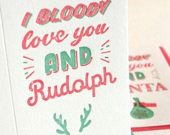 Carte de Noël humoristique drôle typographie, pour lui, Noël romantique, australien phrase «Bloody je t'aime et Rudolph» rouge & vert fun