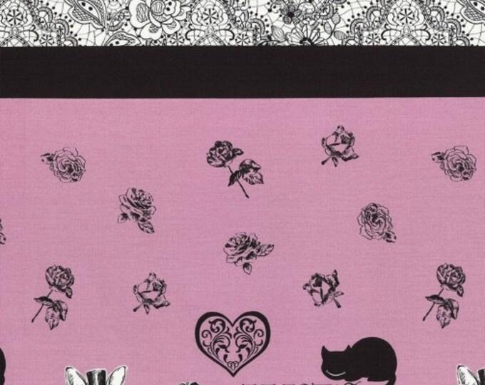 Alice in Wonderland border Panel fabric L35-20 pink, Judie's Cotton by Lecien, 1 yard