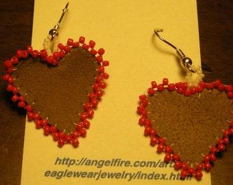 Suede/Heart Earrings