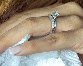Delicate Curved Wedding Ring  Set in Sterling Silver Diamonds G-H,I2-I3 (.25ct)  - Contour Ring  Sterling Silver Diamonds G-H,I2-I3 (.25ct)