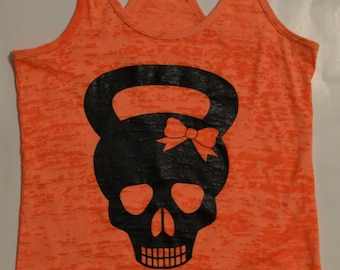 Burnout Tank Top, Kettle bell Skull with Bow Tank, Workout.  Mud Run.  Dirty