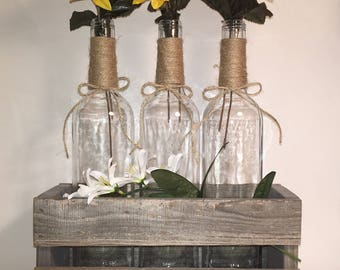 3 Wine Bottle Vases in a Rustic Wood Box with Jute Wrapped Necks, wedding, centerpiece, gift