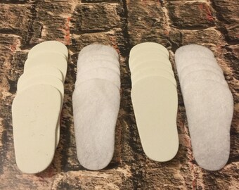 "2mm Doll Soles, 24-Pack Doll Soles, 12-White 2mm Foam Doll shoe Soles, 12-White Felt Doll shoe Soles, 18"" die cut doll soles, free shipping"