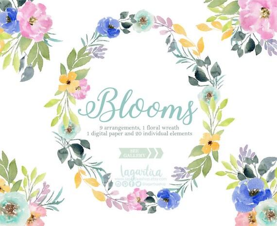 En Acuarela Flores Azules Y Rosas Hojas Sobre Real Papel De