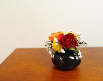 1:12 Red and Yellow Roses Floral Arrangement, Flowers Bouquet in Oval Ceramic Glass Vase, OOAK one inch scale dollhouse artisan miniature