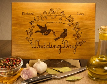 Personalized Cutting Board, Custom Wedding Gift, Personalized Custom Wood Engraved with Initials and dates, Love birds