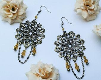 Ethno, earrings, filigree earrings, steampunk