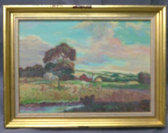 Antique Old Original Oil Painting Farm Red Barn Rural American Landscape Trees