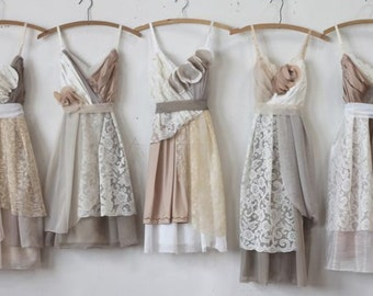 Custom Neutral Grey and Tan Bridesmaids Dresses