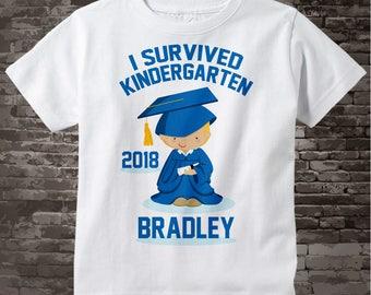 Personalized I Survived Kindergarten Shirt Kindergarten Graduate Shirt Child's Back To School Shirt 05212014b