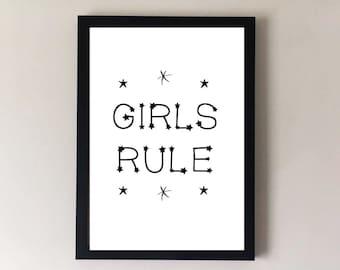 Girls Rule, girls bedroom, girls nursery decor, girls bedroom art, girls room decor, nursery prints, nursery art, nursery wall art,