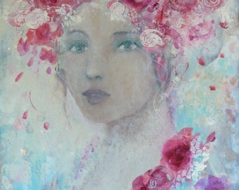 Woman portrait in a romantic and poetic way, acrylic on wood panel