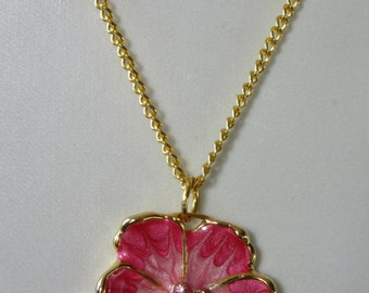 Pink flower necklace,enamel flower necklace,enamel and diamante flower necklace, gold plated chain and clasp,base metal flower .