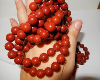 "Red Jasper beads 10mm 16"" strand"