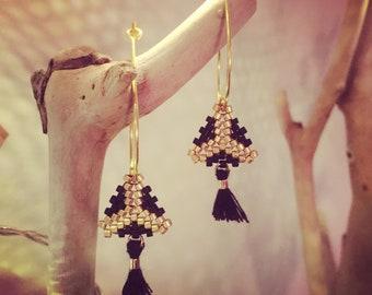 Earrings Gold and Black in Hoop