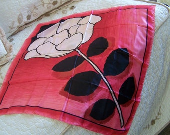 Vintage 80's Scarf  Perfect Square Single Large Rose Design