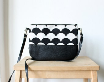 Crossbody black and white leather bag, Every day purse, Vegan, Every day bag, Clutch