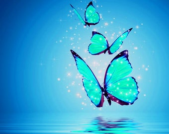 New Fantasy Large Colour Butterflies Print Canvas or Poster Comes In Three Colours