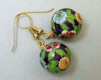Vintage Chinese PURPLE Champleve Cloisonne Bead Dangle Drop Earrings,Turquoise, Green ,Gold French Ear Wires- GIFT WRAPPED