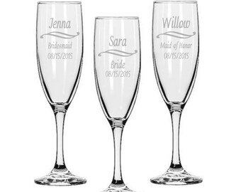 Bridesmaids Champagne Glasses / Personalized Wedding Glasses / Engraved / Custom Engraved Chapange Flute / 16 DESIGNS / Select ANY Quantity