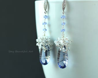 Blue Quartz Earrings with White and Blue Rainbow Moonstone and 925 Silver CZ Components Dangle Drop Earrings Gemstone Jewelry