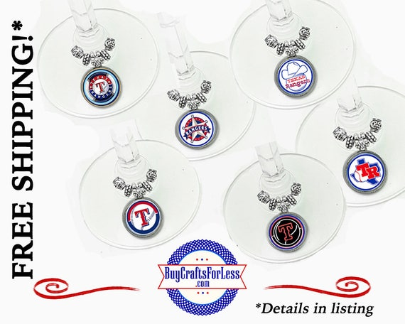 RANGERS Wine or Bottle Charms, Napkin Rings, Set of 6, FREE Gift box +FReE SHiPPING & Discounts*
