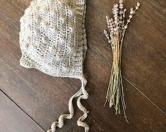 Puff stitch bonnet, The Gerry Bonnet, baby bonnet, crohet bonnet
