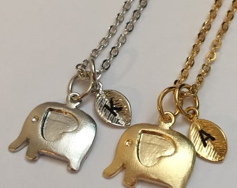 Elephant with heart necklace, elephant with heart charm, animal necklace, personalized necklace, initial necklace, initial charm, monogram
