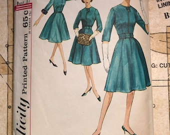 Vintage 60s Dress Sewing Pattern Size 16.5 Bust 37 Simplicity 4672 S4672  16 Half Size Dress Pill Box Hat Muff 1960s Flared Button Detail