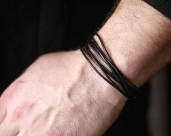 Mens leather Bracelet - Mens black leather Bracelet , Tan Leather , Brown Leather