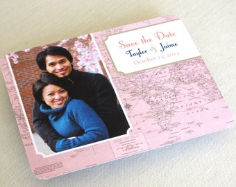 Vintage Photo Save the Date Postcard - Map Destination Wedding Travel Theme Post Card - SAMPLE - Color and Font Options