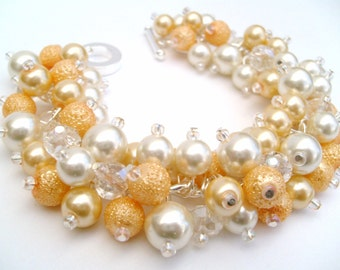 Bridal Jewelry, Wedding, Pearl Bridesmaid Bracelet, Cluster Bracelet, Pearl Bracelet, Banana Yellow and Ivory Pearl Jewelry