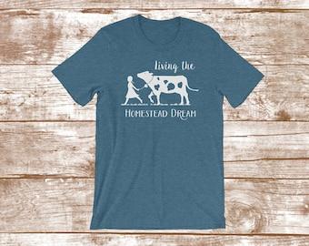Cow & Girl Short-Sleeve T-Shirt- Homesteader, Farmer, Cow Shirt