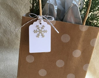 Silver Glitter Snowflake Gift Tags