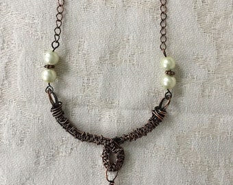 Faux Baroque Pearl Copper Necklace - Wire Weave - Wire wrap - Copper Jewelry - Handmade