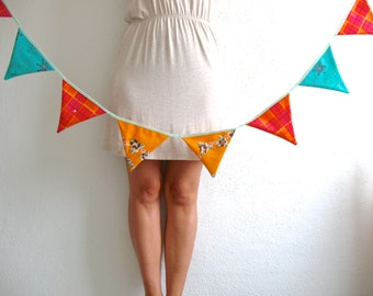 SALE SALE SALE!! Vintage Style Garland -14 triangle shape flags sewn into mint bias tape- great for decor, party supply