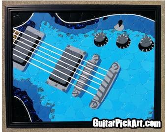 Blue Gibson Guitar Guitar Pick Art