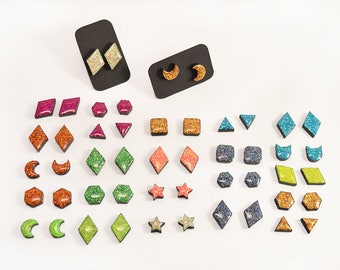 Multicolor sparkling holographic Stud Earrings - Rhombus, cat, half-moon, hexagon, star, triangle, square - Epoxy Resin - Gloss and shiny