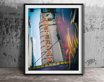 Amsterdam Theatre Neon Sign - New York City - Times Square - NYC Sign Photography Print - art photo