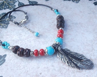 Pewter Feather Necklace, Southwestern Jewelry, Leather Necklace, Beaded Necklace