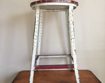 Vintage Red and White Wood and Metal Stool