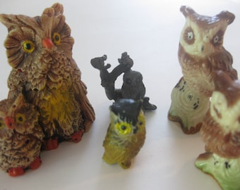 Owl Figurines Ceramic Metal Taiwan Vintage Collection Lot