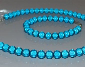 Miracle bead/Glow bead necklace or choker with bracelet in brilliant blue