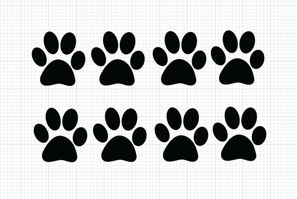 8 pack paw print decals choose size color paw print vinyl stickers dog prints cats print pets animals paw print sticker animal lover